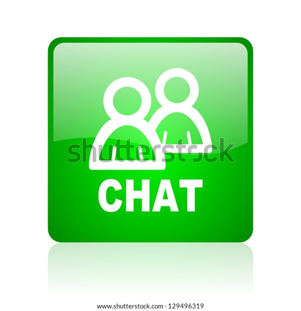 chat green square web icon on white background
