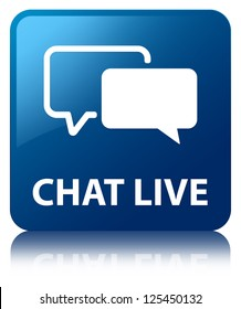 Chat live glossy blue reflected square button