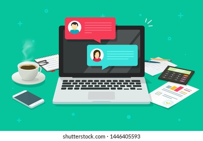 Chat messages on computer online illustration, flat cartoon workspace or working desk laptop pc with chatting bubble notifications, concept of people messaging on internet image