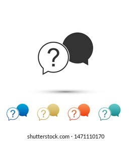 Chat question icon isolated on white background. Help speech bubble symbol. FAQ sign. Question mark sign. Color set icons