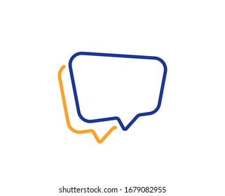 Chat sign. Speech bubble line icon. Social media message symbol. Colorful outline concept. Blue and orange thin line speech bubble icon.