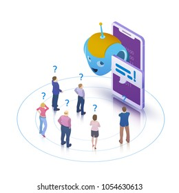 Chatbot and future marketing concept. Flat 3d isometric design concept. People ask questions for the chatbot. Chatbot business concept. Modern banner for the site. Raster image