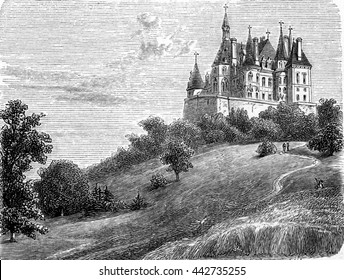 Chateau de Boursault or Boursault Palace in Boursault, Marne, France. From Chemin des Ecoliers, vintage engraving, 1876.