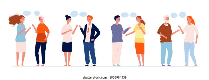 Chatting characters. Different persons talking man and woman with speech bubbles people conversation dialogue concept