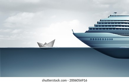 Cheap Cruise and budget vacation concept with paper boat compared to huge luxury liner Ship or inexpensive vacations or economic disparity and rich and poor inequality with 3D illustration elements.