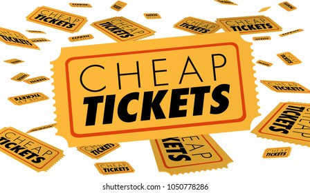 Cheap Tickets Get Low Price Seats Show Theatre Event 3d Illustration