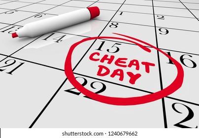 Cheat Day Calendar Going Off Diet Eating 3d Illustration
