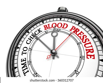 Check blood pressure red motivation message on concept clock, isolated on white background