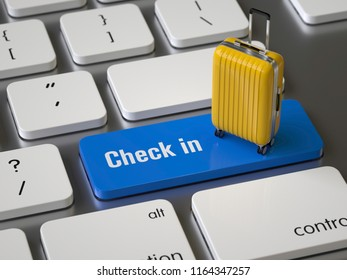 Check in key on the keyboard, 3d rendering,conceptual image.