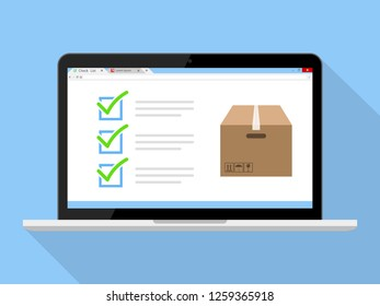 Check List For Delivery Pack Online on Laptop Icon Illustration