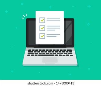 Check list document on laptop illustration, flat cartoon computer with paper check list and to do list with checkboxes, concept of survey, online quiz, completed things or done test, feedback image