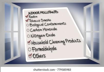 Check list of indoor air pollutants seen through an open window - concept image