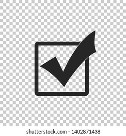 Check mark in a box icon isolated on transparent background. Tick symbol. Check list button sign. Flat design