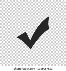 Check mark icon isolated on transparent background. Tick symbol. Flat design.