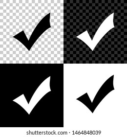 Check mark icon isolated on black, white and transparent background. Tick symbol