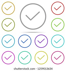 Check mark icon in multi color. Simple outline illustration of web, minimalistic set for UI and UX, website or mobile application