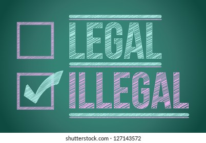 check mark for illegal selection illustration design over a board