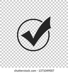 Check mark in round icon isolated on transparent background. Check list button sign. Flat design