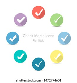 Check Marks icons in flat style. Set of check marks icons. Illustration