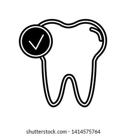 Check tooth icon. Element of Dantist for mobile concept and web apps icon. Glyph, flat icon for website design and development, app development