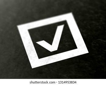 Checkbox. 3D Illustration.