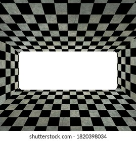 checkerboard shaped flooring with added texture. The image has 4 walls and an opening in the middle
