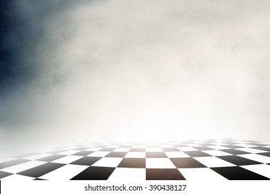 checkered background, sport racing on over cloud sky