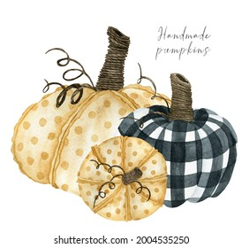 Checkered and dotted handmade pumpkin fall composition, autumn arrangement clipart for thanksgiving invitations and greeting cards, farm wall art decor