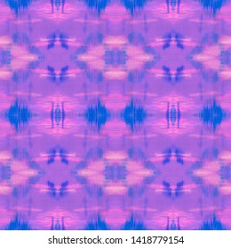Checkered Fashion Seamless Pattern. Ethnic Ornament with Purple, Blue and Pink Squares. Hand Drawn Illustration. Tie Dye Quadrangle Fabric Design. Watercolor Checkered Fashion.