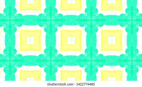 Checkered Fashion Seamless Pattern. Ethnic Print with Green and Yellow Quadrangles. Handmade Background. Boho Quadrangle Texture Design. Watercolor Checkered Fashion.