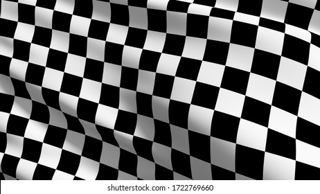 Checkered flag. Black and white square color. 3D rendering illustration of waving sign. illusion pattern background.