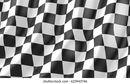 Checkered flag Race flag, 3d illustration