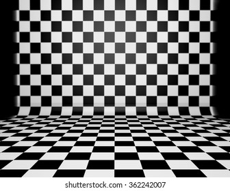 Checkered floor black and white.