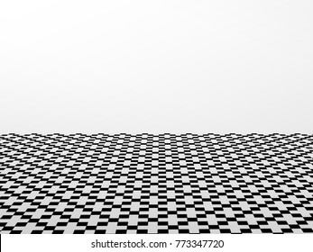 checkered floor and white wall abstract background with black and white color