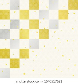 Checkered gold leaf,Silver leaf celebration background (Japanese traditional paper texture)