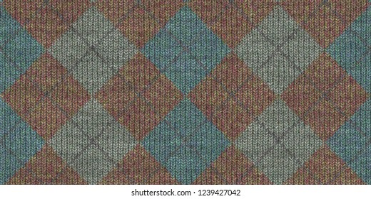Checkered Knitted Weaving Background. Wool Knitwear Cotton Texture. Fabric Material Cloth Backdrop.