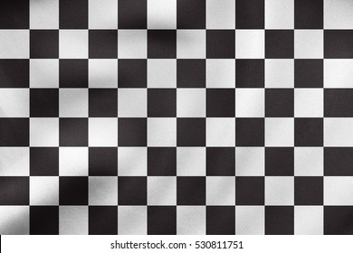 Checkered racing flag. Symbolic design of end of car race. Black and white background. Checkered flag waving in the wind, real detailed fabric texture. 3D illustration