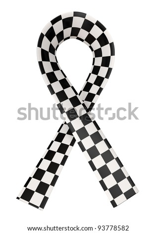 Checkered Ribbon Black White On White Stock Illustration Royalty
