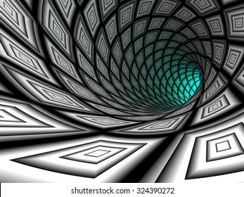 Checkered tunnel, abstract background. 3D