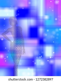 Checkered women in abstract blurred pattern. Glamour Blonde Girl. 3D rendering
