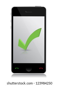 checking with smart phone illustration design over white
