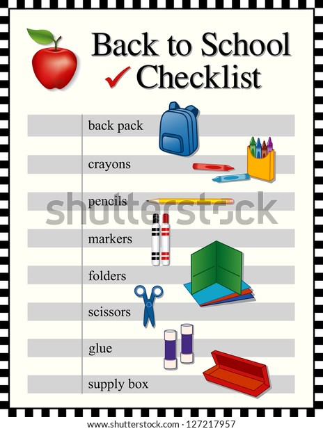 Checklist Back School Supplies Backpack Crayons Stock