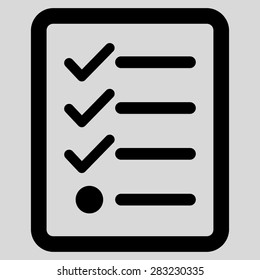 Checklist icon from Business Bicolor Set. Glyph style: flat symbol, black color, rounded angles, light gray background.