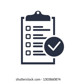 Checklist icon. Clipboard icon, business agreement checkbox list. Time management, notes to do list, choice, contract, document sign. Financial report with ok symbol, office object isolated.