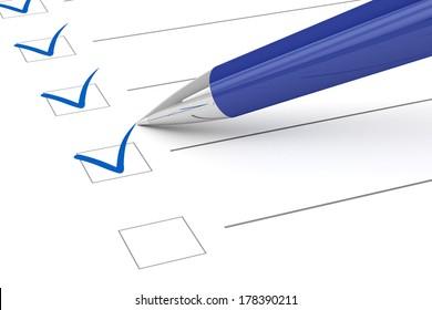 Checklist paper and pen.