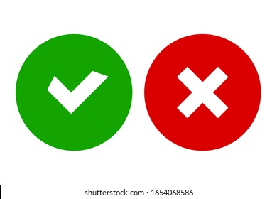Checkmark and cross icons for web design isolated on white background. Flat