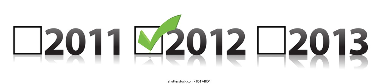 checkmark selecting 2012 illustration design