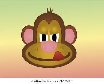 cheeky cartoon monkey licking his lips
