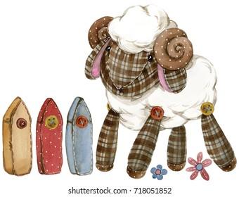 cheep. cartoon farm animal. cute domestic pet watercolor illustration.