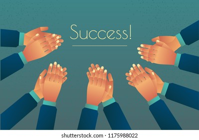 to cheer up with applause for success. clap their hands, a storm of ovations. Congratulations applaud
